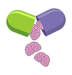 Pill with brains tablet for mind medical drug to vector