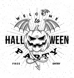 Halloween party invitation with flying pumpkin vector image