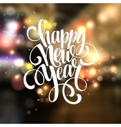 New year handwritten typography over blurred vector