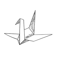 Origami crane paper bird sketch icon vector image