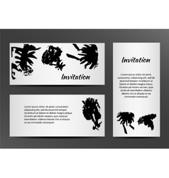 Invitation with inkblots on white background vector