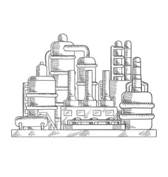 Oil refinery factory in sketch style vector