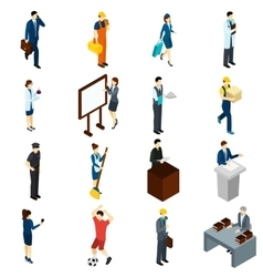 Professional people work isometric icons set vector