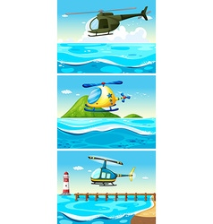 Helicopter flying over the ocean vector