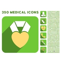 Heart award icon and medical longshadow icon set vector