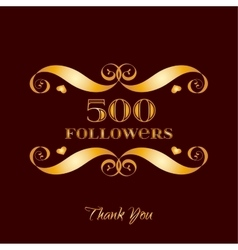Gold 500 followers badge over brown vector