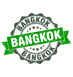 Bangkok round ribbon seal vector