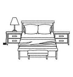 bedroom with nightstand dotted silhouette on white vector image