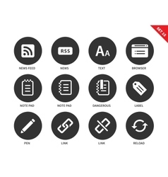 Blogger and office icons on white background vector
