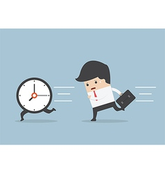 Business man run follow the clock vector image