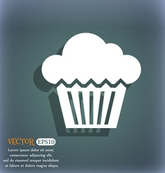 cake icon On the blue-green abstract background vector image