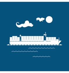Cargo Container Ship Isolated on Blue vector image