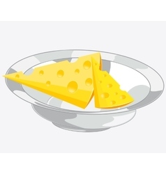 Cheese on plate vector