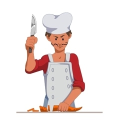 Chef with a sharp knife slice the carrots cooking vector