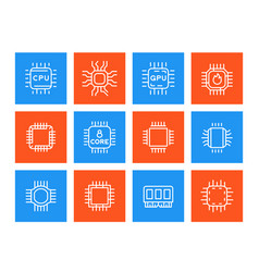 chipset microchip cpu line icons set vector image vector image
