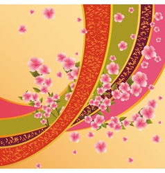 Colorful background with sakura blossom Japanese vector image vector image