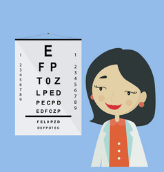 eye doctor ophthalmologist woman character in vector image