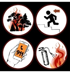 Fire safety and means of salvation vector