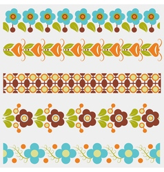 Five seamless floral borders vector