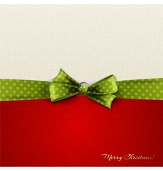 Greeting card with green polka dot bow vector