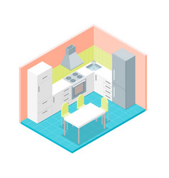 interior kitchen room with furniture isometric vector image