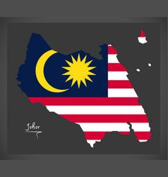 johor malaysia map with malaysian national flag vector image vector image