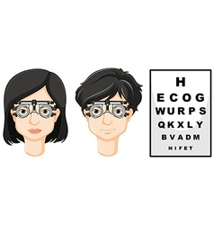 Man and woman wearing test glasses vector image vector image