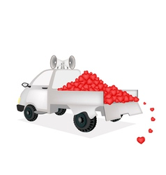 Many Heart on A Pickup Truck Ready for Sale vector image