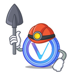 Miner vechain coin mascot cartoon vector