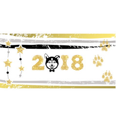 New years greeting banner with dog vector