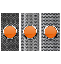 Orange glass button on metal perforated background vector