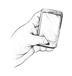 Person hand using a generic smart phone vector