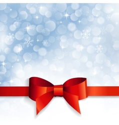 red bow on a background snowflakes vector image vector image