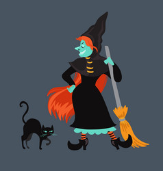 red-haired witch in black dress and cloak vector image vector image