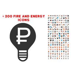 rouble bulb icon with bonus flame set vector image vector image