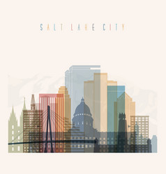Salt lake city state utah skyline detailed silhoue vector