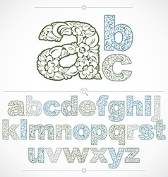 Set of beautiful lowercase letters decorated with vector image vector image