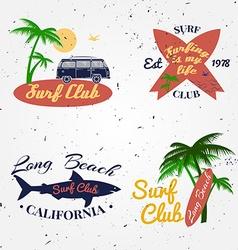 Set of surf club concept summer surfing retro vector