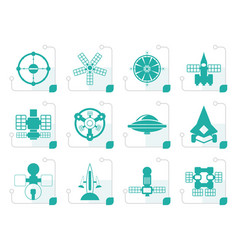 Stylized different kinds of future spacecraft icon vector