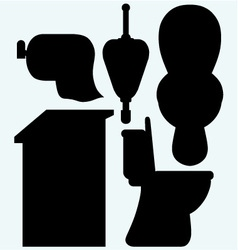 Toilet cubicle urinal and toilet paper vector