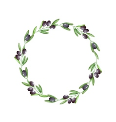 Watercolor olive branch wreath vector
