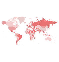world map in four shades of pink on white vector image vector image