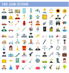 100 job icons set flat style vector