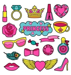 Princess fashion patches set vector