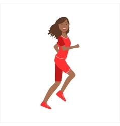 Happy jogger girl running in red sportive outfit vector