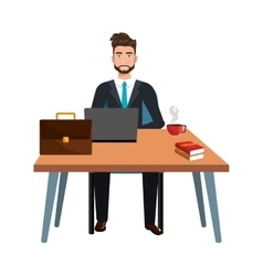 Business person sitting in workplace vector