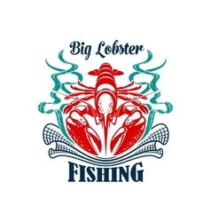 Fishing or fishery icon seafood lobster emblem vector