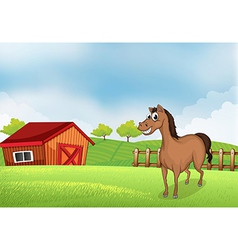 A horse in the farm with a wooden house vector