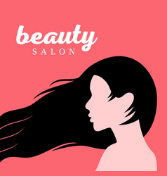 Beautiful girl with long hair profile vector