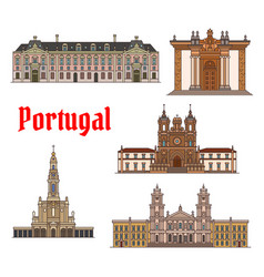 Portuguese travel landmark thin line icon set vector